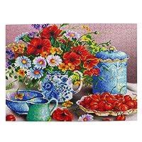 500ピース ジグソーパズル カラフルな花とチェリー パズル 木製パズル 動物 風景 絵 ピクチュアパズル Puzzle 52.2x38.5cm