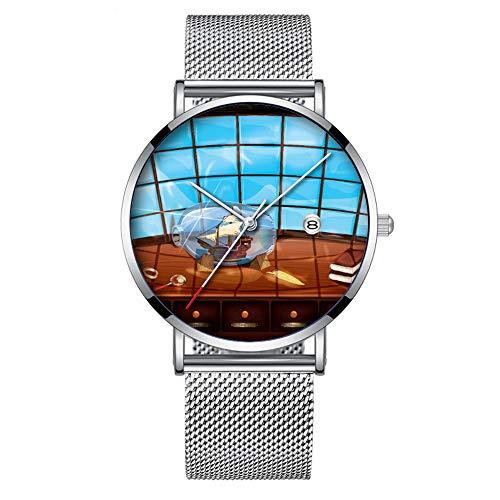 Minimalistische Mode Quartz Polshorloge Elite Ultra Dunne Waterdichte Sport Horloge met Datum met Mesh Band 176.Schip in een Fles op De zee