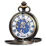 ManChDa Reloj de Bolsillo Hombre Mujer Relojes de Bolsillo con Cadena Relojes de Bolsillo mecánico Grabado Steampunk Números Romanos Mano Viento Reloj de Bolsillo