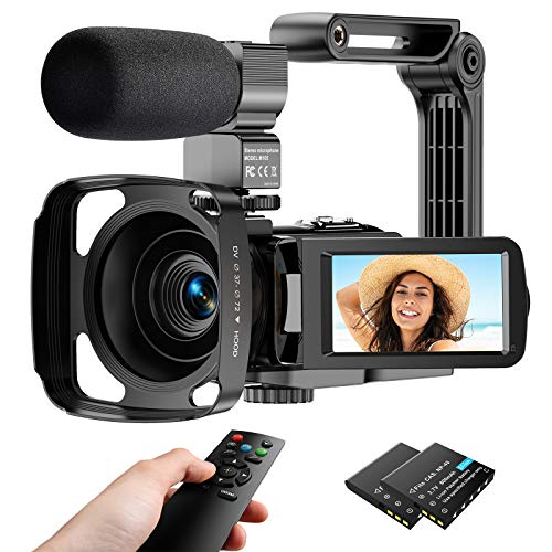 Video Camera Camcorder 2.7K, Vlogging Camera for YouTube Ultra HD 24FPS 36 MP IR Night Vision 16X Digital Zoom 3.0 Touch Screen, Video Camera with Microphone Handheld Stabilizer Lens Hood