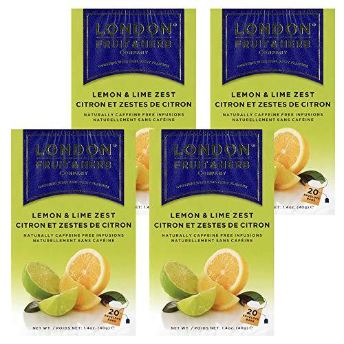 送料無料 ロンドンフルーツ&ハーブ レモン&ライムゼスト (20パック入り) 4箱セット ハーブティ ティーバッグ イギリス