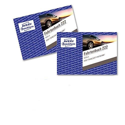 AVERY Zweckform 222-2 Fahrtenbuch für PKW im 2er-Pack (vom Finanzamt anerkannt, A6 quer, 80 Seiten insgesamt 390 Fahrten, für Deutschland und Österreich zur Abgrenzung privater/geschäftlicher Fahrten)