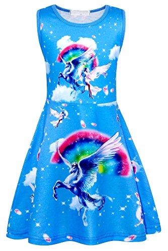 Jurebecia Disfraz Unicornio Niñas Vestidos de Unicornio para niñas sin Mangas Disfraz Niñas Fiesta de cumpleaños de Halloween Cosplay Vestido Ropa para niños