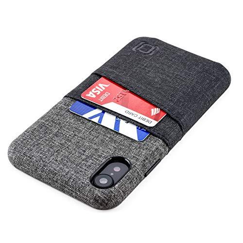 Dockem Luxe M2 Funda Cartera para iPhone XR: Funda Tarjetero Slim con Placa de Metal Integrada para Soporte Magnético: Serie M [Negro y Gris]