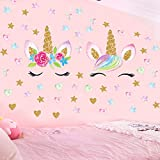Unicorn Wall Decals,Unicorn Wall Sticker Decor with Heart Flower Birthday Christmas Gifts for Boys Girls Kids Bedroom Decor Nursery Room Home Decor(D-2PCS Unicorn)