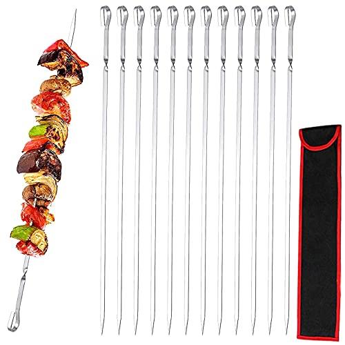GUJIN [12 Pezzi] Spiedi per barbecue, 41cm BBQ Kabob Spiedini Acciaio Inox Set, Spiedi Piatti Riutilizzabili per Barbecue Grigliatura Carne Verdure BBQ Bastone