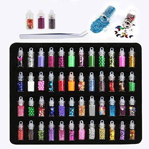 Phogary - 48 frascos con accesorios para decoración de uñas. Purpurina en polvo, lentejuelas, cuentas, etc., para decoración de uñas, maquillaje de ojos y cuerpo, y fabricación de slime