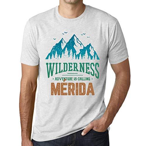 One in the City Hombre Camiseta Vintage T-Shirt Gráfico Wilderness MÉRIDA Blanco Moteado