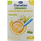DANALAC Organic Crema di Cereali (Mais, Riso, Banana) 200 Grammi | Pappa Senza Zucchero 6+ Mesi (Confezione da 1)
