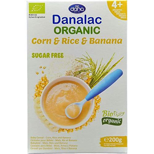 DANALAC Bio Céréales Biologique pour Bébés (Maïs, Riz, Banane) 200 g de Porridge Sans Sucres 4 Mois et plus (Lot de 1)