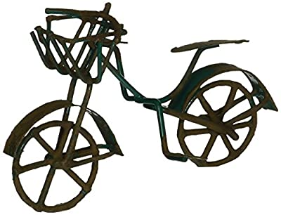 G & F Products 10022GR MiniGarden Fairy Garden Miniature Green Mini Bicycle Outdoor Statue