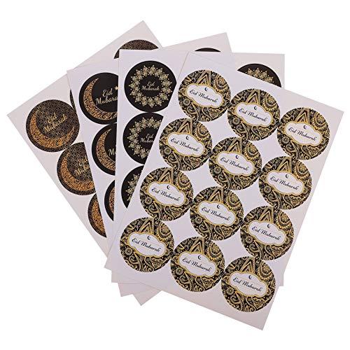 PRETYZOOM 480 Stück Eid Mubarak Tütenaufkleber, Siegel-Aufkleber, Islam-Party, r&e Geschenktütenaufkleber