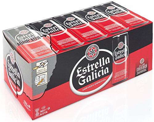 Cerveza estrella galicia pack de 10 latas de 33cl.