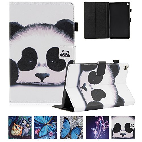 UUcovers Amazon Kindle Fire HD 8 Tablet Case 8' (6th/7th/8th Generation, 2016/2017/2018), Smart PU Leather Folio Stand Magnetic Wallet Cover with Card Pencil Holder [Auto Wake/Sleep], Lovely Panda