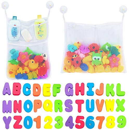 Product Image of the Comfylife 2 x Mesh Bath Toy Organizer + 6 Ultra Strong Hooks + 36 Bath Letters &...
