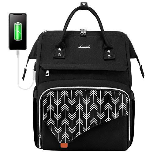 LOVEVOOK Laptop Rucksack 15,6 Zoll, Schulrucksack Stylischer mit USB Ladeanschluss, Rucksack Damen wasserdicht für Schule, Rucksack schule Anti-diebstahl mit Laptopfach, Rucksack schwarz