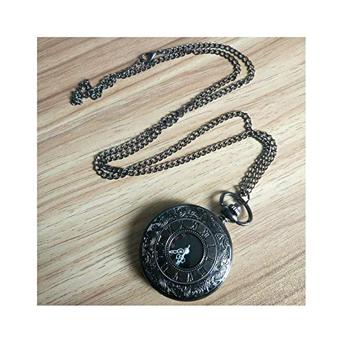 HLONGG Klassischen Römischen Charakter Dual-Display-Taschenuhr, Quarzwerk Und Halskette, Mode, Antike, Kreative Uhr,Schwarz