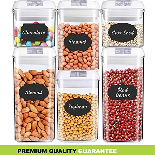 Airtight Food Storage Containers - [Upgraded+BONUS] Dry & Fresh Durable BPA Free Plastic [Set of 6] - Premium Airtight Container Set with Lids - Kitchen & Pantry Containers - BONUS Labels & Marker Included - Crown Equipments