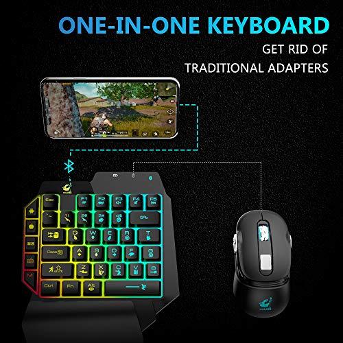 BEESCLOVER Free Wolf G11 Gaming-Tastatur-Konverter mit Einer Hand Thron-Tastatur, Bluetooth 4.2, mit Spiel-Konvertierung, universeller Adapter für Android und iOS Geräte – für CE