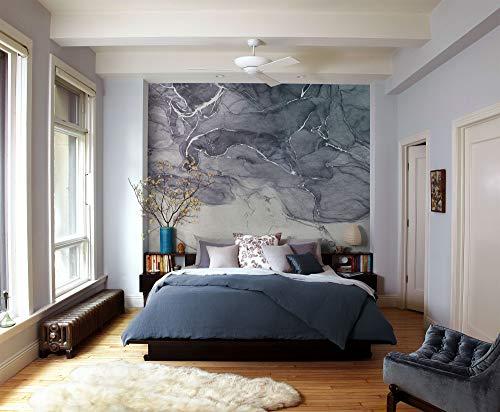 Komar Vlies fotobehang - Ink Blue Fluid - grootte 300 x 280 cm (breedte x hoogte) - steenmotief marmer grijs muur behang woonkamer slaapkamer kantoor hal decoratie wandschilderij - R3-024