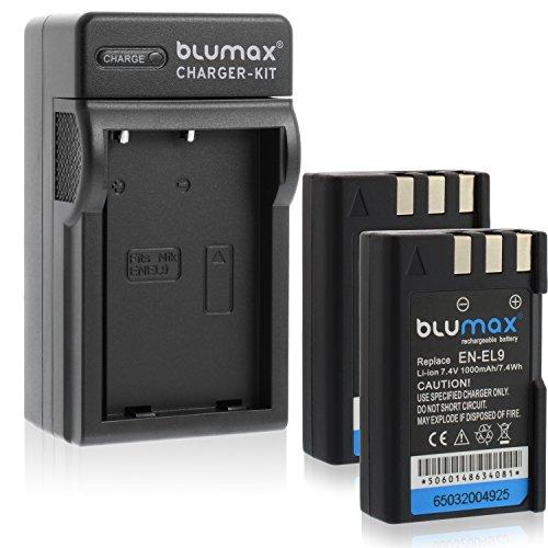 Blumax 2X Akku für Nikon EN-EL9 / EN-EL9e / EN-EL9a 1000mAh + Ladegerät für EN-EL9 / EN-EL9e / EN-ELa | passend zu Nikon D40-D40X-D60-D3000-D5000