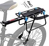 Bicicleta Portaequipajes,Ajustable Bicicleta Montaje Al Cuadro,portabicicletas De Aleación De Aluminio con Guardabarros,Alforjas De 70 Kg (A)