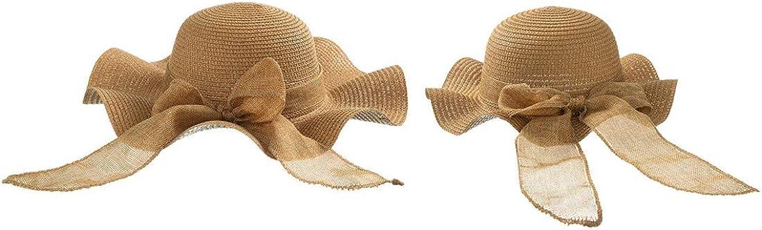 Topics on TV 2PCS Parent-Child Straw Hat Bowknot Summer shopping H Brim Sun Beach Wide