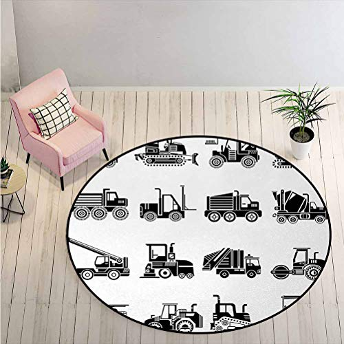 LiHomecurtain Carpet Heavy Machinery and Vehicles of Construction Mining Site Drawn in Black on White Solid Round Rug Perfect for Reading Nook Black White Diameter - 2 Feet