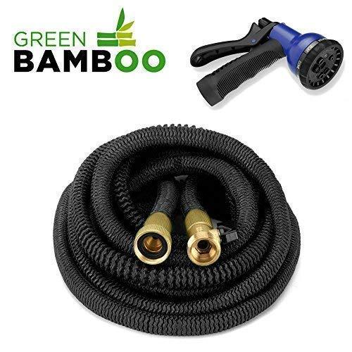 ⭐[Green Bamboo®] - Manguera Extensible y Retractable - Solidez Reforzada / 15 metros (50 pies) + Conectores de latón con tornillos + Pistola 8 funciones