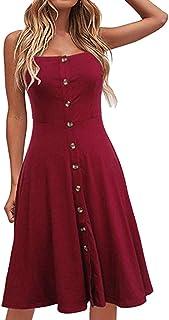 comprar comparacion VEMOW Faldas Midi Vestido Largo Casual con botón Abotonado sin Mangas, Vestido Suelto de Fiesta Informal para Mujer