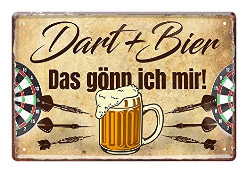 helges-shop Dart und Bier das gönn ich Mir - Dart Dekoration Schild - Dekoblechschild für Dartspieler - schöne Deko für Dart Scheibe - Dart Zubehör - Dart Spruch - Geschenk für Dart Fans - 20x30cm