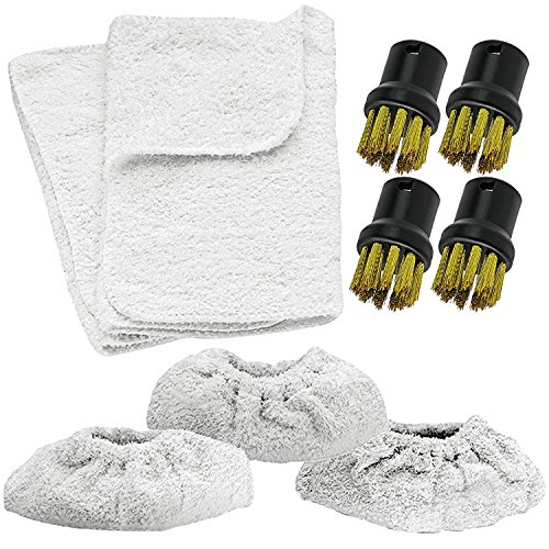 Preisvergleich Produktbild Spares2go Terry Tool Pad Abdeckungen + Messing-Drahtbürsten-Werkzeug Düsen für Kärcher Dampfreiniger