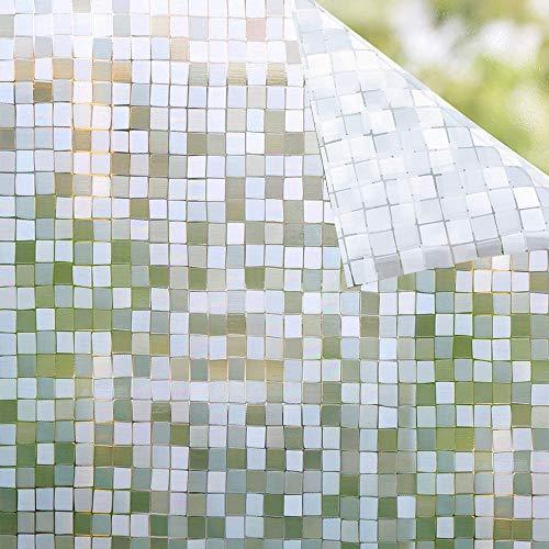 Shackcom Fensterfolie Selbsthaftend Blickdicht Sichtschutz Sichtschutzfolie Statisch Haftend Anti-UV Dekorfolie für Bad Küche Büro Zuhause - 45x200CM Z008