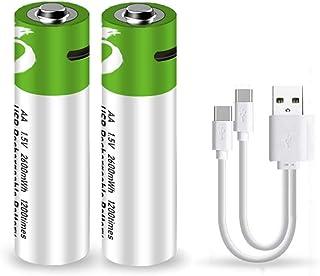 単3形USB充電式リチウム電池 AA充電池 1.5V定出力2600mWh 1.5H急速充電 チウムイオンじゅうでんち(単三形充電電池 x 2個) 1200回充電 USB Cケーブル付き