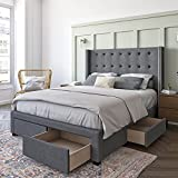 DG Casa Savoy Tufted Upholstered Wingback Panel Storage Bed Frame, King Size in Grey Fabric