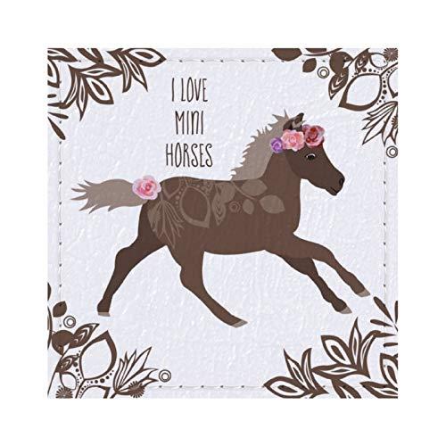 Posavasos de caballo en miniatura para bebidas, reutilizable, cuadrado de cuero con almohadilla de respaldo para decoración del hogar, regalos para hombres y mujeres