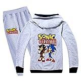 Tjolllpkfjg Unisex Sonic The Hedgehog Pullover Impresión de Dibujos Animados de Moda Sudaderas con Capucha Cardigan y Ocio largas del Juego de Pantalones Ropa de niños Sonic The Hedgehog Sudaderas