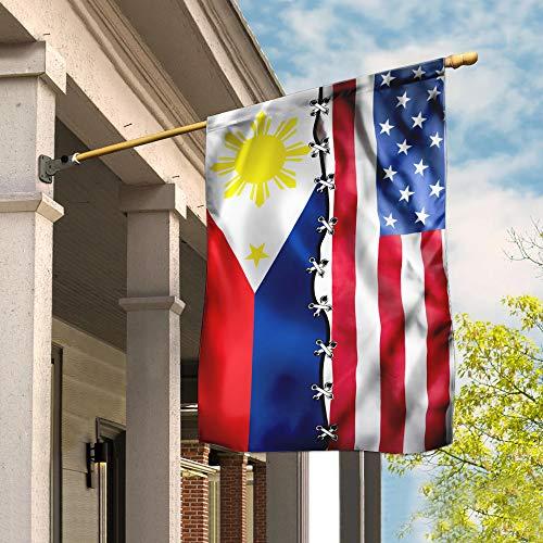 FLAGWIX Flags-Filipino American Flag DBX1824Fv1, House Flag (29.5' x 39.5')-USA House Garden Flags Premium Polyester-Decorative Outdoor Flags
