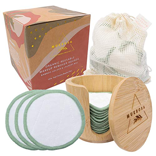 MUEROSA 14 pcs Reusable Bamboo Makeup Remover Pads | 100% Natural Bamboo Fiber Rounds | Soft Face Pads Facial Cleasing Skincare Set (14 Pads + Bamboo Holder + Laundry Bag, WHITE EDITION)