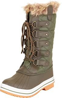 Cambridge Select Women's Faux Fur Quilted Insulated Lace-Up Mid-Calf Snow Boot