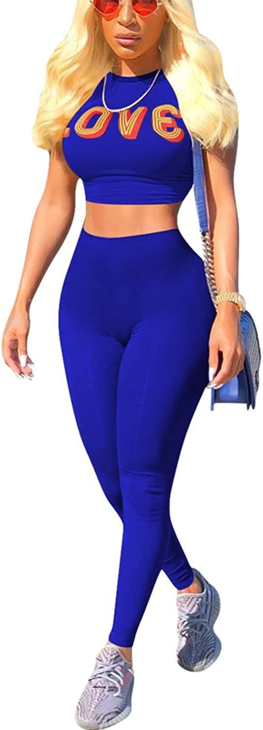 Aleng Women's Summer 2 Pieces Outfits Bodycon Short Sleeve Crop Top and Long Skinny Pants Tracksuit Set