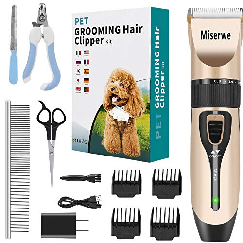 MISERWE Rechargeable Cordless Pet Clippers Low Noise Electric Horse Grooming Clippers with Guard Combs Brush for Horse