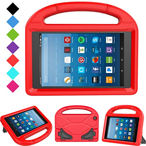Kids Case for Fire HD 8 - TIRIN Light Weight Shock Proof Handle Kid –Proof Cover Kids Case for Fire HD 8 Tablet (7th and 8th Generation Tablet, 2017 and 2018 Release) NOT for 2020 Fire 8, Red