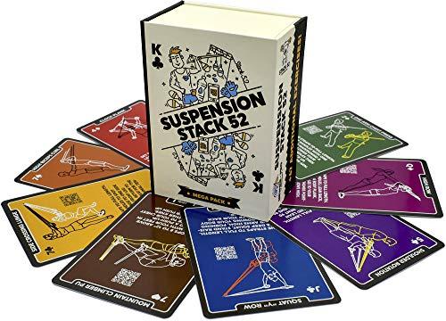Stack 52 Suspension-Übungskarten, die mit TRX und anderen Trainer-Gurten kompatibel sind. Videoanweisungen enthalten. Fun Home Fitness-Programm. (Mega Pack)