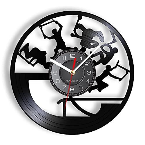 ROMK Reloj de Pared Freestyle Stunt Scootering Tricks Reloj de Pared Rendimiento acrobático Grabado para habitación Adolescente Scooter Riding Reloj Colgante