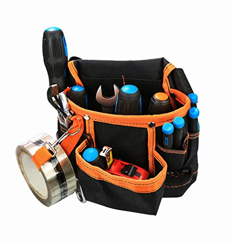 SHADE SPRING Electrician's Tool Belt Pouch Work Pouch with 11 Pockets for Tools Flashlight Keys,Orange