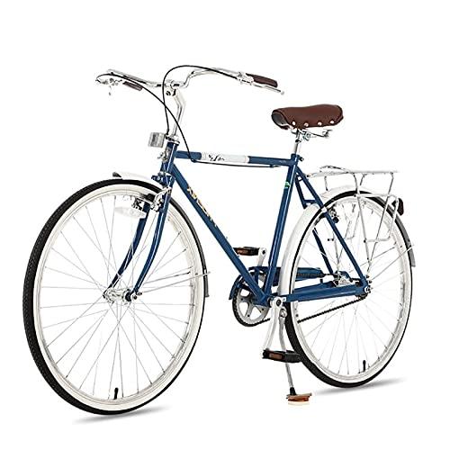 QIU Single Speed 700C 24 / 26Inch Commuter City Road Bike |21 Pulgadas Marco Urbano Engranaje Fijo Bicicleta Retro Vintage Adulto Damas Hombres Unisex (Color : Blue, Size : 26')