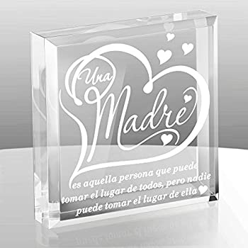 KATE POSH - A Mother is she who can take The Place of All Others but Whose Place no one Else can take  Spanish - UNA Madre  Spanish - Engraved Keepsake and Paperweight