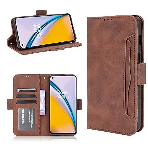 Color sólido multi-tarjeta ranura teléfono casos OnePlus Nord 2 Nord2 5G cuero caso cartera clip Flip Cover 1+Nord 2 5G libro cubierta (marrón, OnePlus Nord 2 5G)