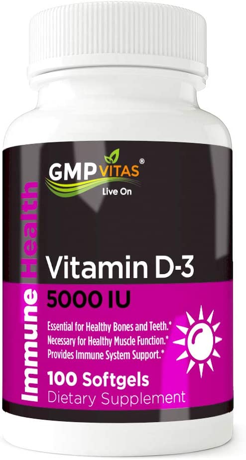 GMP Vitas Cheap mail order shopping Vitamin D-3 5000 I.U. Non-GMO for Softgels 100 Shipping included Organic